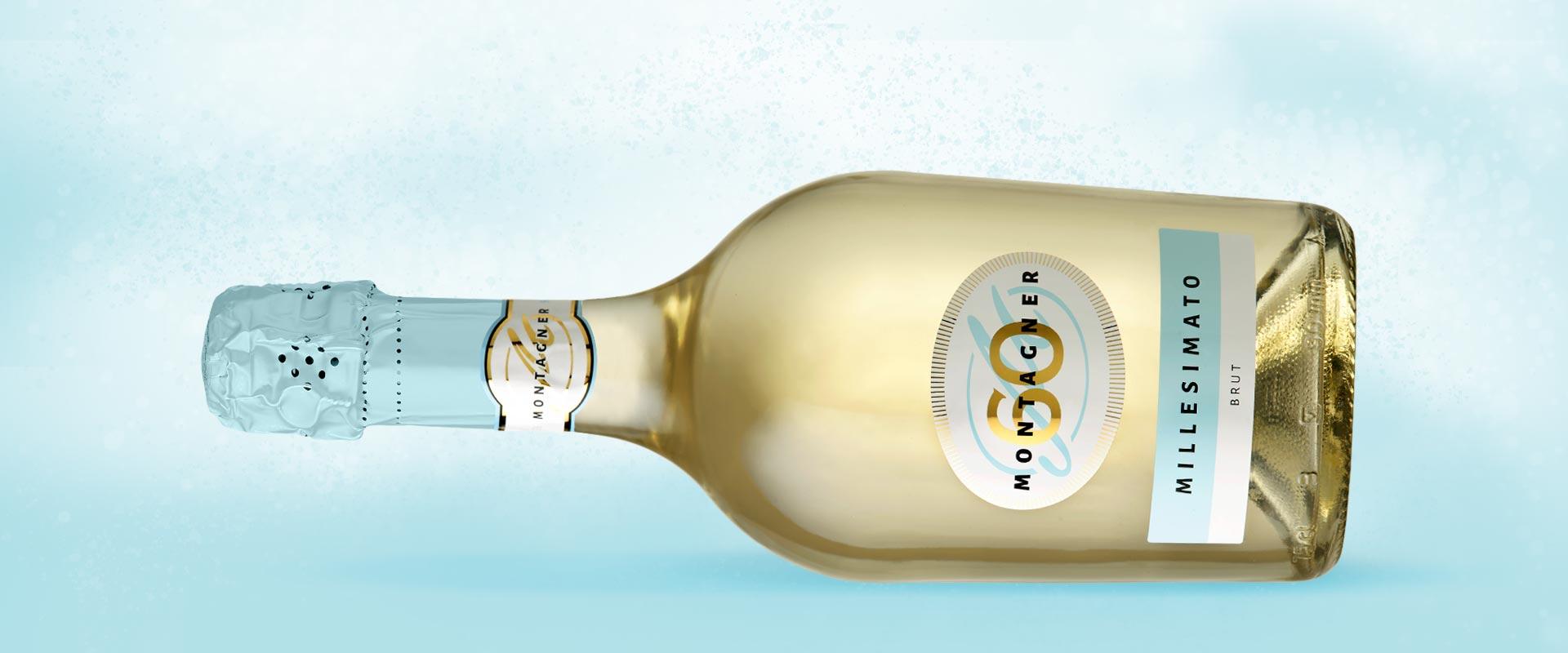 bottiglia millesimato montagner etichetta azzurra